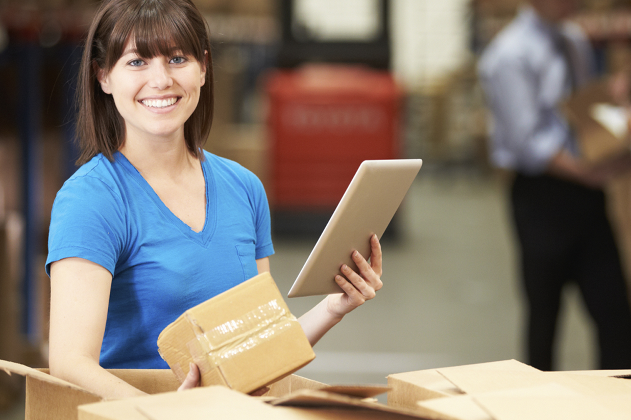 Woman holding packages